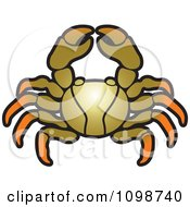 Clipart Gold And Orange Crab Royalty Free Vector Illustration