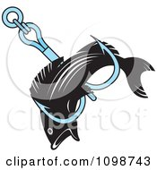 Clipart Black Fish Caught In A Fishing Hook Royalty Free Vector Illustration