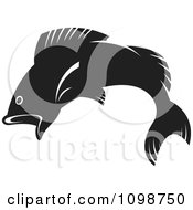 Clipart Leaping Black Fish Royalty Free Vector Illustration by Lal Perera