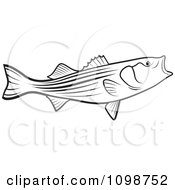 Clipart Outlined Bass Fish With An Open Mouth Royalty Free Vector Illustration by Lal Perera