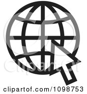 Clipart Black And White Grid Internet Globe And Computer Cursor Royalty Free Vector Illustration by Lal Perera