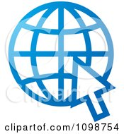 Clipart Blue Grid Internet Globe And Computer Cursor Royalty Free Vector Illustration by Lal Perera
