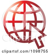 Clipart Red Grid Internet Globe And Computer Cursor Royalty Free Vector Illustration