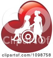 Clipart Silhouetted Nurse Helping An Elderly Woman In A Wheelchair On A Red Heart Royalty Free Vector Illustration