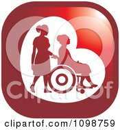 Clipart Silhouetted Nurse Helping An Elderly Woman In A Wheelchair Icon Button Royalty Free Vector Illustration