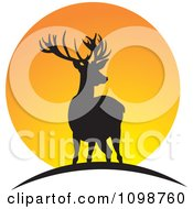 Clipart Two Silhouetted Deer Over An Orange Sun Royalty Free Vector Illustration