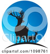 Clipart Two Silhouetted Deer Over A Blue Moon Royalty Free Vector Illustration