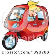 Clipart Happy Blond Woman Driving A Tuk Tuk Royalty Free Vector Illustration by Lal Perera