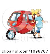 Clipart Happy Blond Woman Walking By A Tuk Tuk Royalty Free Vector Illustration