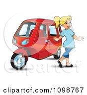 Happy Blond Woman Walking By A Tuk Tuk