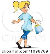 Clipart Happy Blond Woman Walking With A Purse Royalty Free Vector Illustration