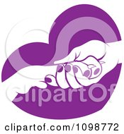 Clipart Dog Resting Its Paw In A Womans Hand Over A Purple Heart Royalty Free Vector Illustration by Lal Perera #COLLC1098772-0106