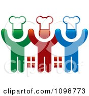 Clipart Three Happy Chefs Holding Up Their Arms Royalty Free Vector Illustration by Lal Perera