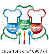 Clipart Three Happy Chefs With Silverware Royalty Free Vector Illustration by Lal Perera