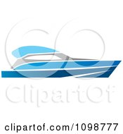 Clipart Blue Pleasure Boat Royalty Free Vector Illustration