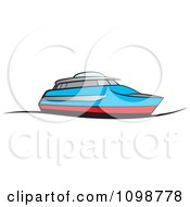 Clipart Blue And Red Pleasure Boat Royalty Free Vector Illustration by Lal Perera