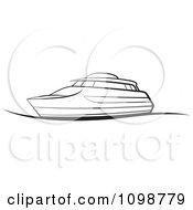 Clipart Outlined Pleasure Boat Royalty Free Vector Illustration