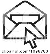 Clipart Black And White Computer Cursor Over An Email Envelope Royalty Free Vector Illustration