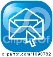 Clipart Blue Computer Cursor Over An Email Envelope Icon Button Royalty Free Vector Illustration