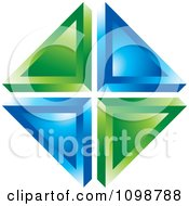 Clipart 3d Green And Blue Triangles Royalty Free Vector Illustration