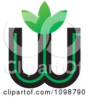 Clipart Green And Black Letter W With Leaves Royalty Free Vector Illustration by Lal Perera