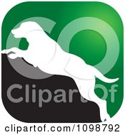 Green White And Black Leaping Dog Icon