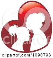 Clipart Silhouetted Mother And Daughter Over A Red Heart Royalty Free Vector Illustration