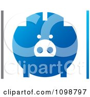 Clipart Blue Piggy Bank Logo With Gray And Blue Borders Royalty Free Vector Illustration