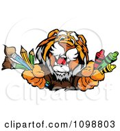 Clipart Happy Tiger Mascot Holding Out Art Crayons Paintbrushes And Pencils Royalty Free Vector Illustration