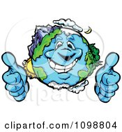 Clipart Happy Earth Mascot Holding Two Thumbs Up Royalty Free Vector Illustration by Chromaco