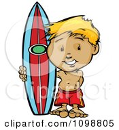 Happy Blond Surfer Boy Standing With His Board