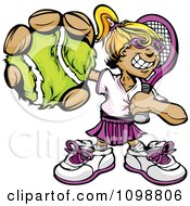 Clipart Grinning Tennis Girl Holding Out A Ball Royalty Free Vector Illustration