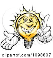 Clipart Smart Yellow Light Bulb With A Bright Idea Royalty Free Vector Illustration