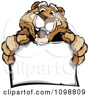 Clipart Friendly Couger Mascot Holding A Sign Royalty Free Vector Illustration