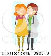 Clipart Friendly Maternity Doctor Standing With A Red Haired Pregnant Patient Royalty Free Vector Illustration