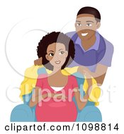 Clipart Loving Black Man Covering His Pregnant Wife With A Blanket Royalty Free Vector Illustration