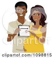 Clipart Happy Black Pregnant Couple Showing Their Due Date Royalty Free Vector Illustration by BNP Design Studio