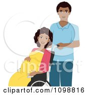 Clipart Black Husband Pushing A Laboring Pregnant Woman In A Wheelchair Royalty Free Vector Illustration