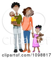 Clipart Happy Black Family With A Pregnant Mommy Holding Hands Royalty Free Vector Illustration