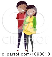 Clipart Happy Black Couple With The Father To Be Rubbing His Pregnant Wifes Baby Bump Royalty Free Vector Illustration