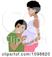 Clipart Happy Black Father To Be Man Listening To His Wifes Baby Royalty Free Vector Illustration by BNP Design Studio