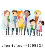 Clipart Friendly Doctors With Their Medical Patients Royalty Free Vector Illustration