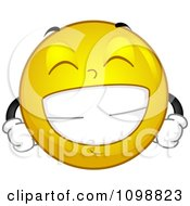 Clipart Yellow Grinning Smiley Emoticon Royalty Free Vector Illustration