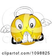 Clipart Yellow Angel Smiley Emoticon Royalty Free Vector Illustration