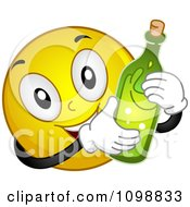Clipart Yellow Celebrating Smiley Emoticon With A Champagne Bottle Royalty Free Vector Illustration