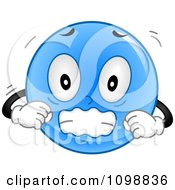Clipart Blue Shivering Smiley Emoticon Royalty Free Vector Illustration