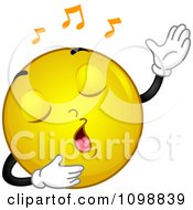 Clipart Yellow Singing Smiley Emoticon Royalty Free Vector Illustration