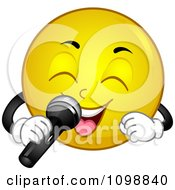 Clipart Yellow Smiley Emoticon Singing Into A Microphone Royalty Free Vector Illustration