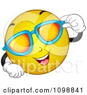 Clipart Yellow Cool Smiley Emoticon Wearing Tinted Sunglasses Royalty Free Vector Illustration