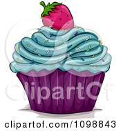Clipart Cupcake Topped With Blue Frosting Sprinkles And A Strawberry Royalty Free Vector Illustration by BNP Design Studio